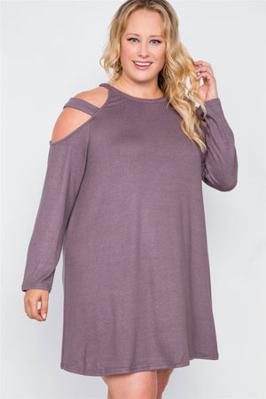 Plus Size Knit Strap Shoulder Long Sleeve Dress