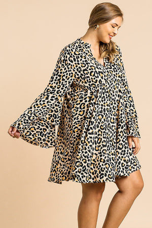 Animal Print Oversize Bell Sleeve V-neck Dress