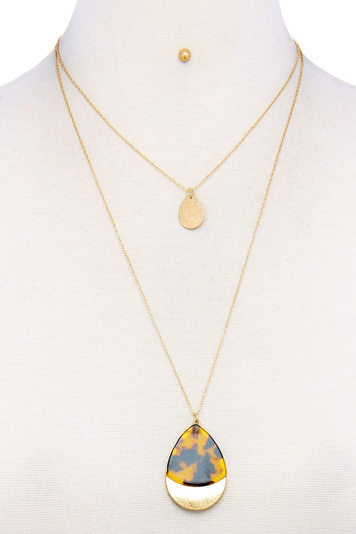 Teardrop Shape Layered Necklace