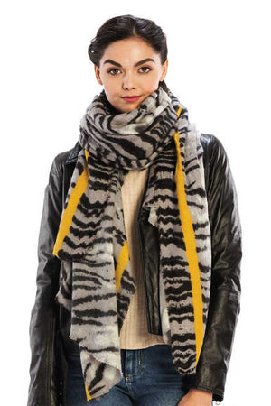 Color Line With Animal Pattern Scarf