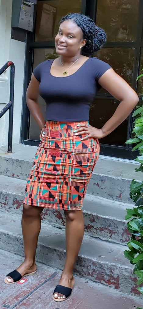 African Print High-wasited Midi Stretch Pencil Skirt