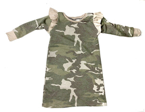 Camouflage Flutter Sleeve Dress (toddler -tween)
