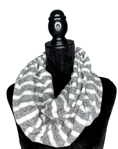 Grey and White Hidden Pocket Infinity Scarf