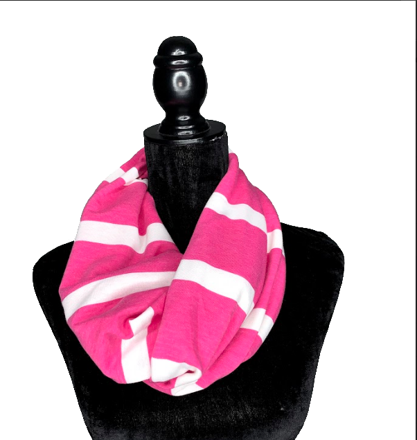 Pink and White Hidden Pocket Infinity Scarf