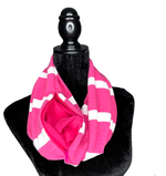 Load image into Gallery viewer, Pink and White Hidden Pocket Infinity Scarf