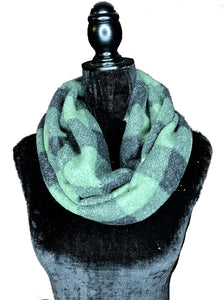 Green and Navy Plaid Hidden Pocket Infinity Scarf