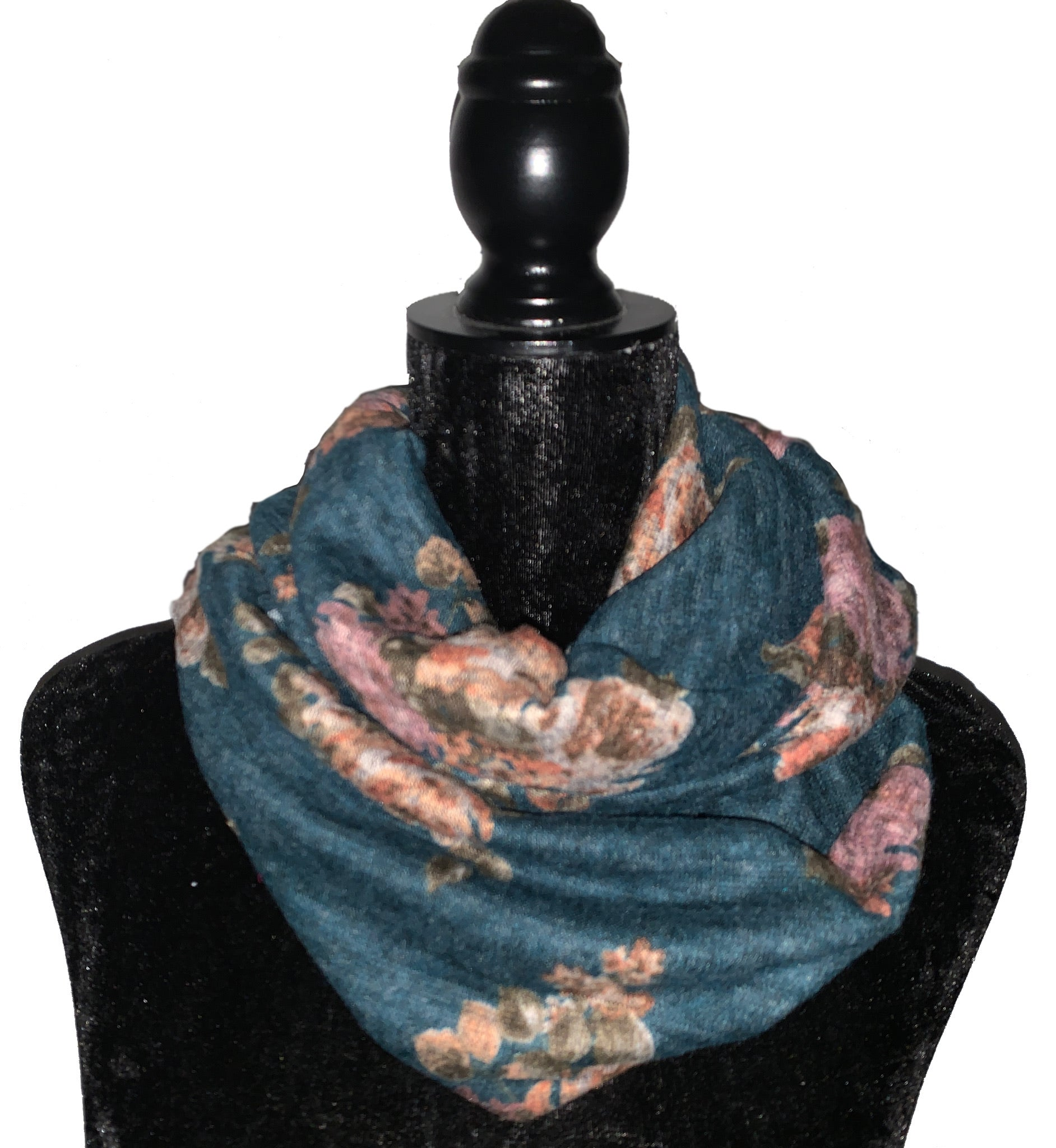 Green Floral Pocket Infinity Scarf