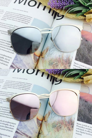 Metal Mirrored Sunglasses - Gold