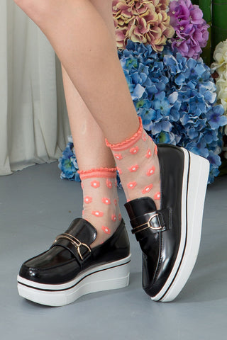 Sheer Floral Ankle Socks With Scallop Top - Pink