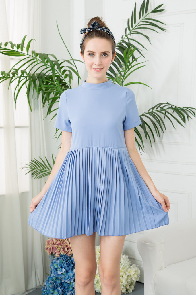 High Neck Pleated Mini Dress - Blue