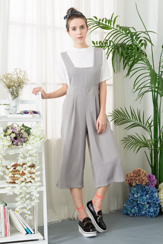 Wide Leg Cropped Jumpsuit With Pinafore