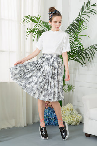 Floral Pleat Midi Skirt