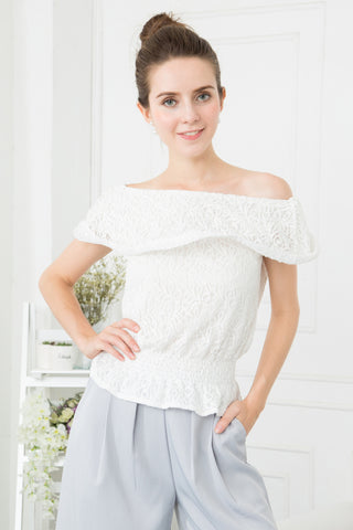 Lace Off Shoulder Peplum Top