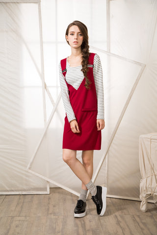 V-Neck Dungaree Dress