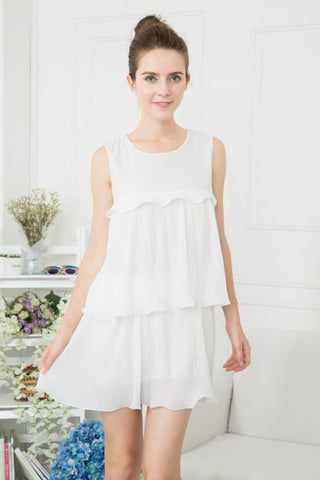Peplum Layered Dress - White