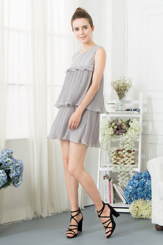 Peplum Layered Dress - Grey
