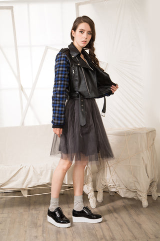Shalex Biker Jacket with Check Sleeve