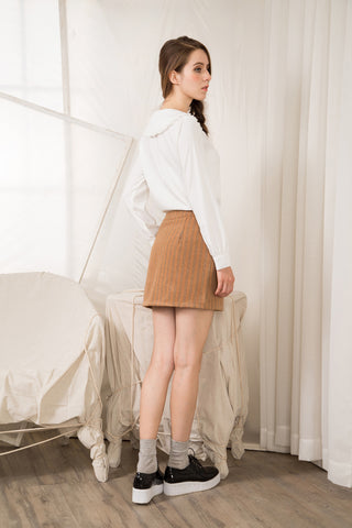 Stripe Button-front Skirt