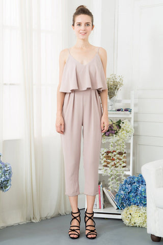 Ruffle Jumpsuit with Belt