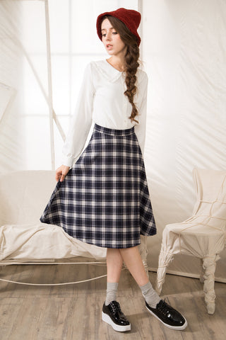 Shalex Midi Skirt In Tartan Check