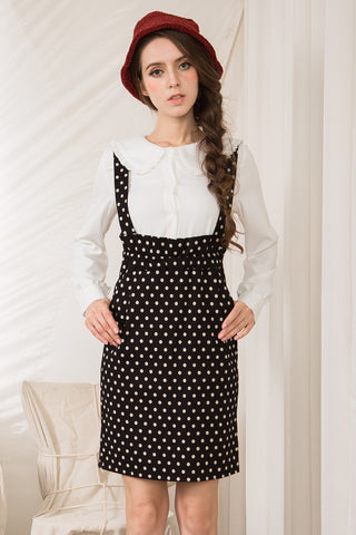 Polka Dot Dungaree Dress
