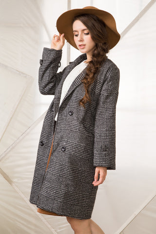 Shalex Double Breasted Coat In Check