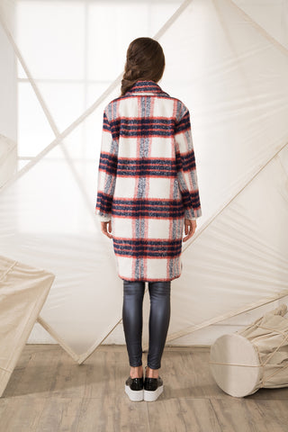 Shalex Brushed Check Woolen Coat
