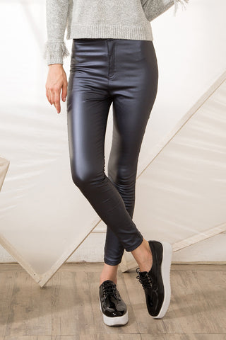 Greyish blue Leather-look Trouser