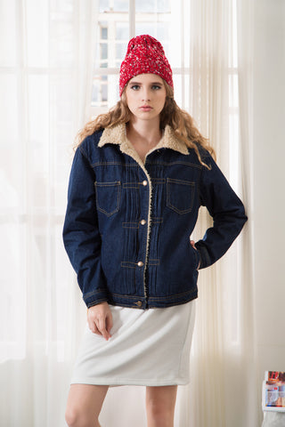 Denim Borg Lined Boyfriend Jacket