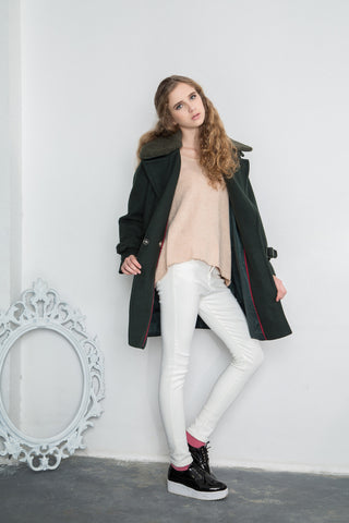 Shalex Wool Coat with Faux Shearling Collar