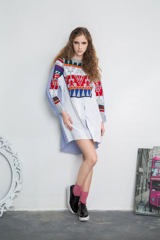Aztec Knit Panel Shirt Dress