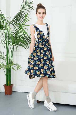 Floral Pinafore Midi Dress