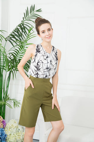 3-Way Pleat Cropped Culotte - Green