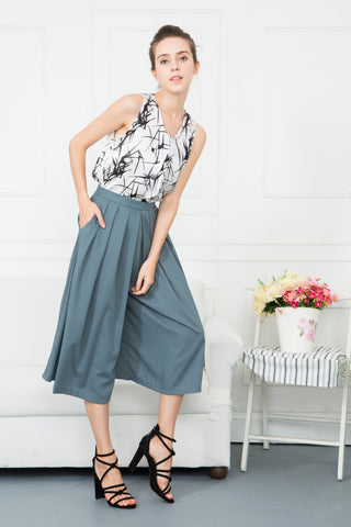 Wide Leg Pleated Culottes