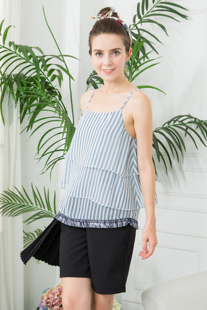 Stripe Layered Cami with Fringe Hem