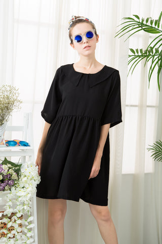 Sailor Collar Smock Dress - Black