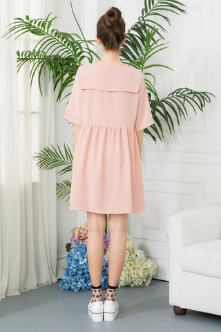 Sailor Collar Smock Dress - Pink