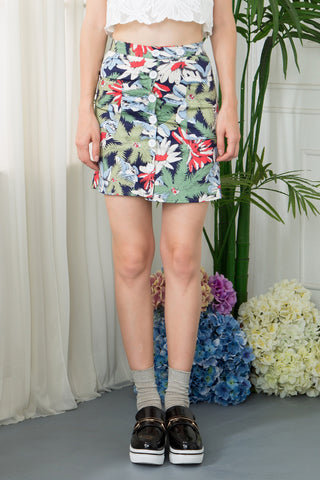Floral Button Through Mini Skirt