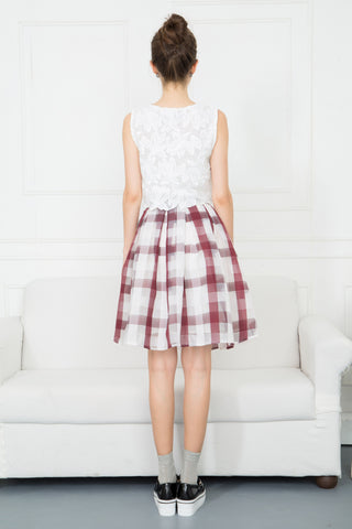 Gingham Check Mesh Skirt