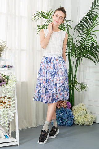 Floral Water Painting Print Pleated Skirt