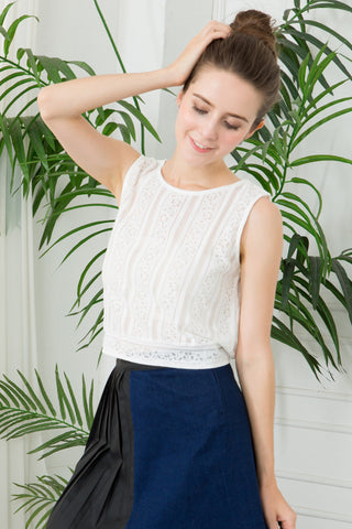 Lace Boho Top With Tie Hem - White