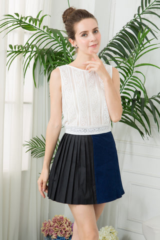 Leather-Look Pleated Denim Mini Skirt