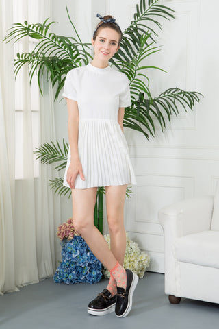 High Neck Pleated Mini Dress - White