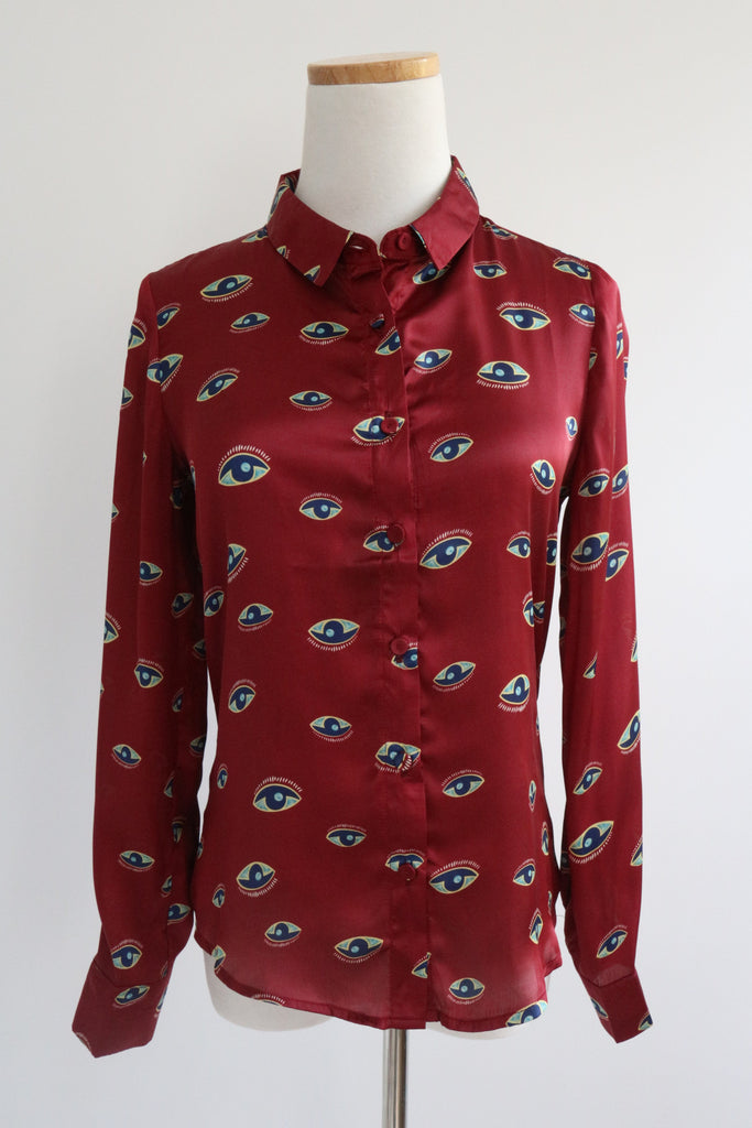 "NEW VERSION: ""Eyes"" Shirt - Wine Red"