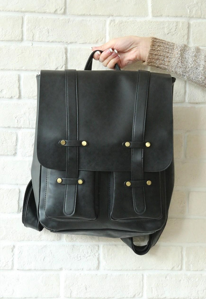Leather-Look Studs Backpack - Black