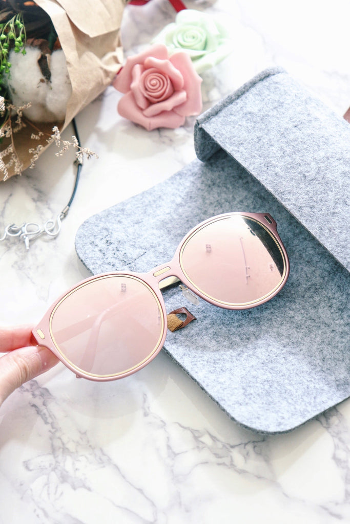 Pastel Pink Sunglasses with Mirror Lens