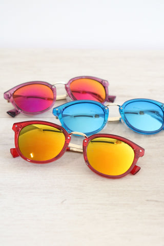 Round Mirror Sunglasses - Blue