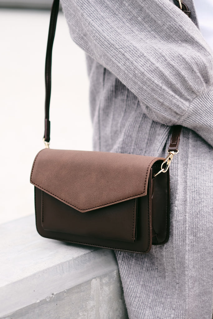 Leather and Suede Minimalist Cross Body Bag - Dark Brown