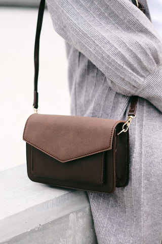 Leather and Suede Minimalist Cross Body Bag - Brown
