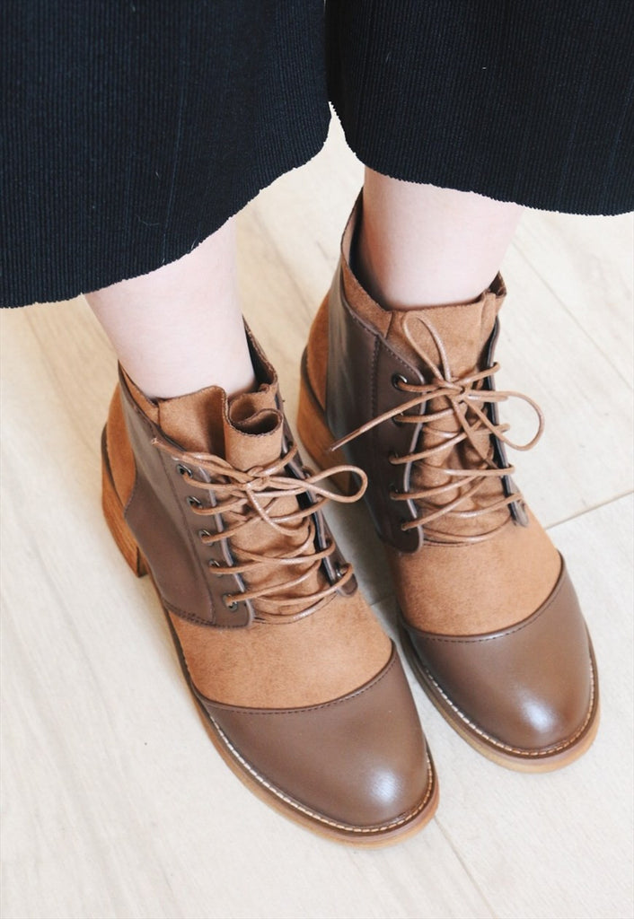 Leather Suede Mix Lace up Ankle Boots - Brown